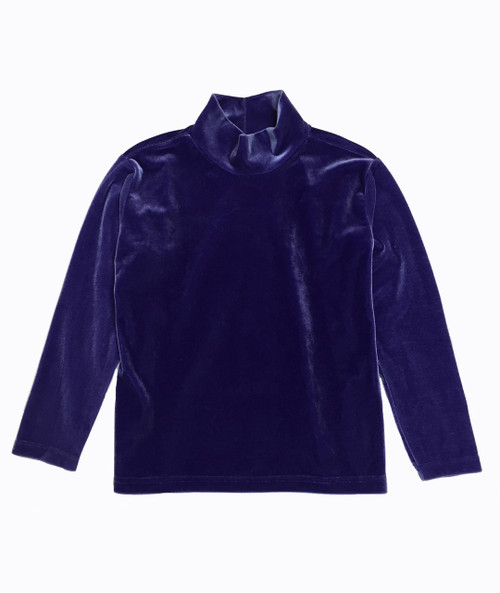 Purple Velour Mockneck Shirt, Little Girls
