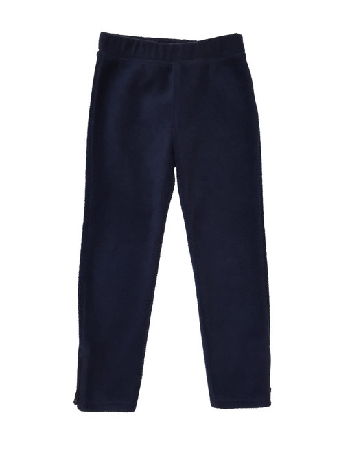 Navy Zip Ankle Fleece Pants, Little Girls