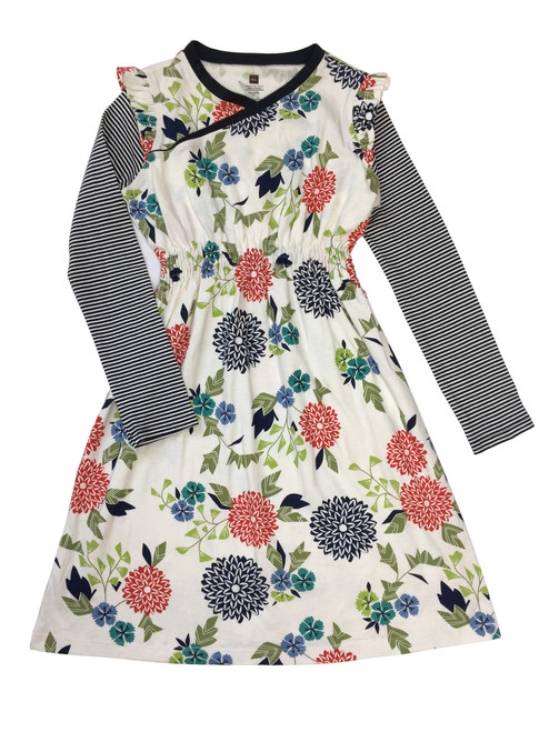 Floral Wrap Neck Dress, Big Girls