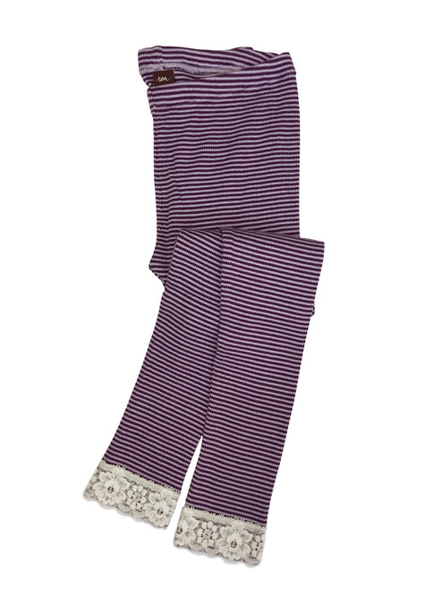 Purple Striped Thermal Leggings, Little Girls