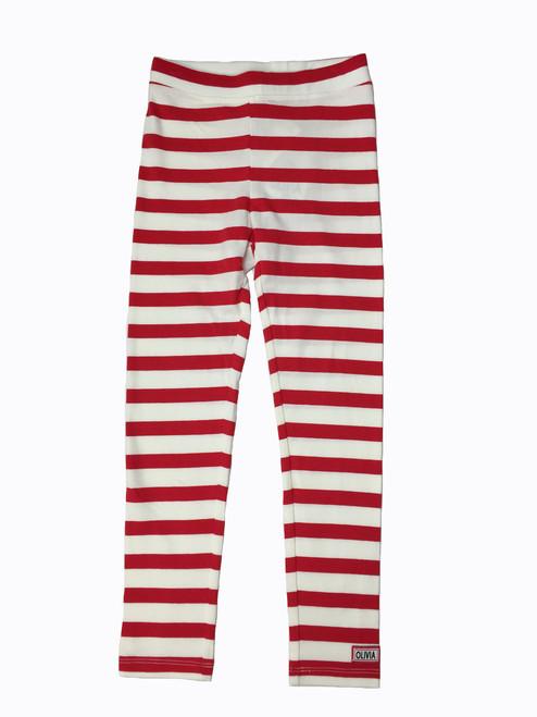 Red Striped Leggings, Little Girls