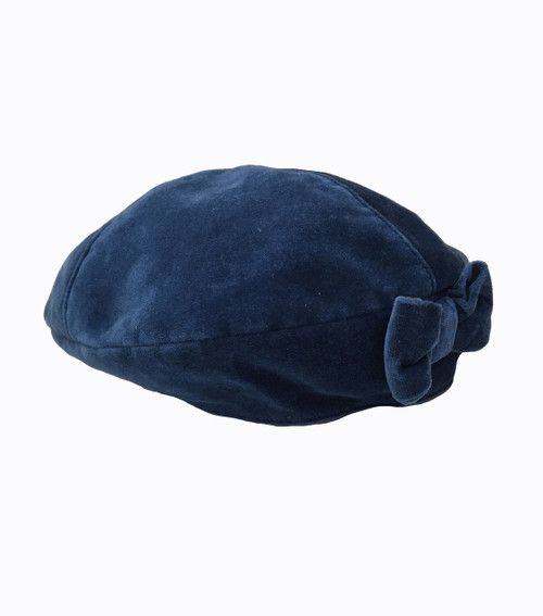 Beautiful Blue Velour Beret Hat, Little Girls