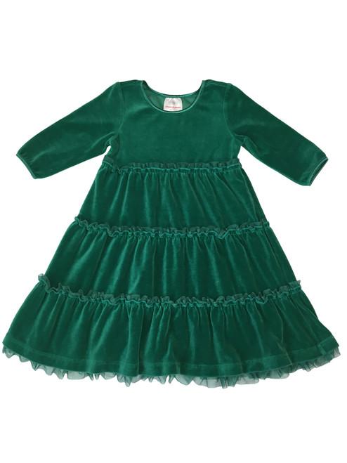 Forest Green Velour Tiered Twirl Dress