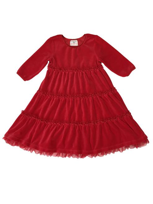Red Velour Tiered Twirl Dress