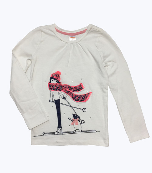 Glitter Gems Ski Penguin Tee, Toddler Girls