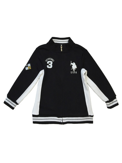 Sporty Black Fleece Mock-Neck Jacket, Toddler Boys