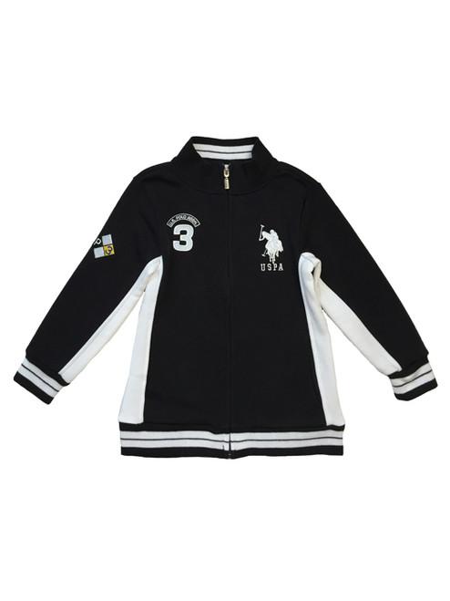 Sporty Black Fleece Mock-Neck Jacket, Toddler Boys