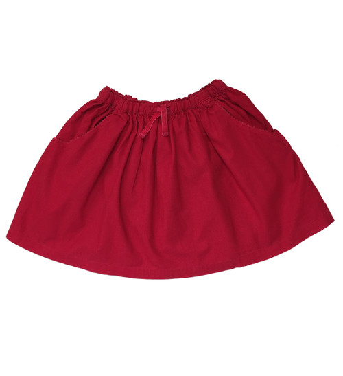 Red Pinwale Corduroy Skirt, Little Girls