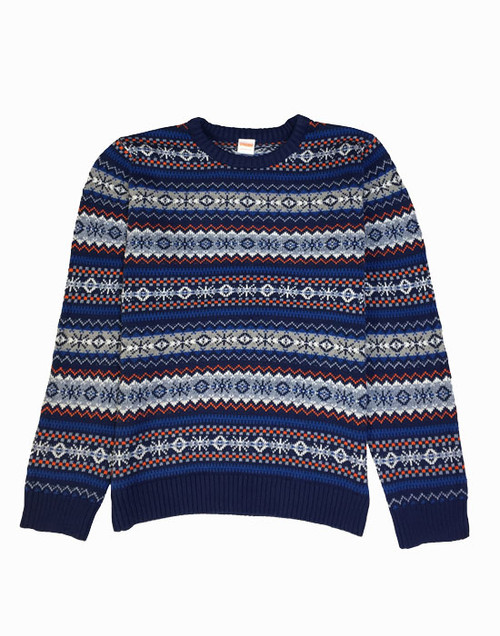 Blue Fair Isle Pullover Sweater, Big Boys
