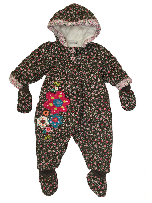 Brown Floral Snowsuit with Mittens and Booties