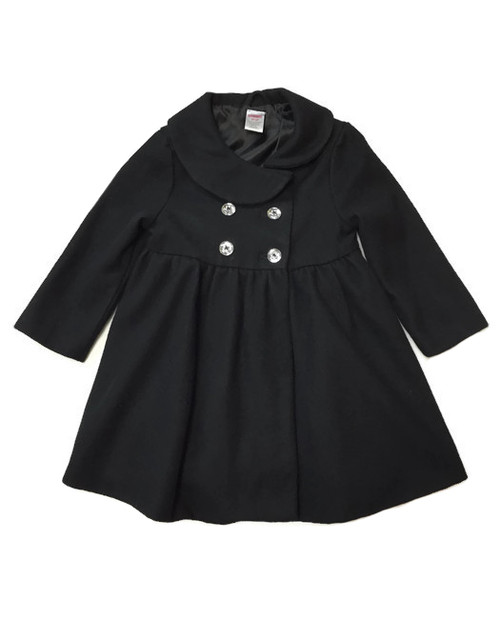 Black Wool Blend Peacoat, Toddler Girls