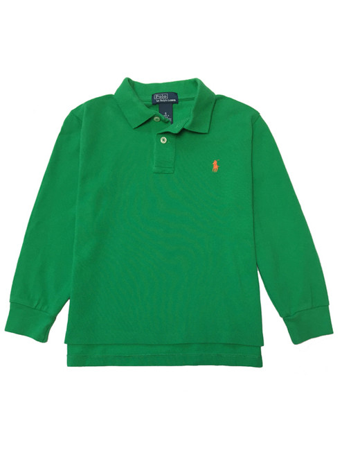 Green Pique Polo Shirt, Little Boys