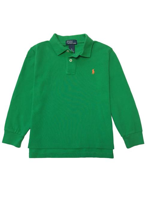 Green Pique Polo Shirt, Little Boys