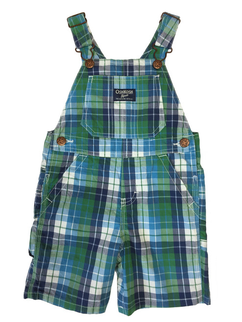 Baby Boy Green White and Blue Plaid Short Overall