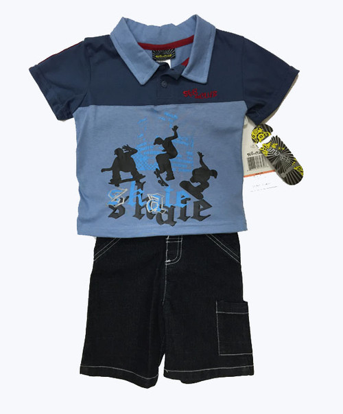 Skateboard Shirt Shorts Set, Toddler Boy