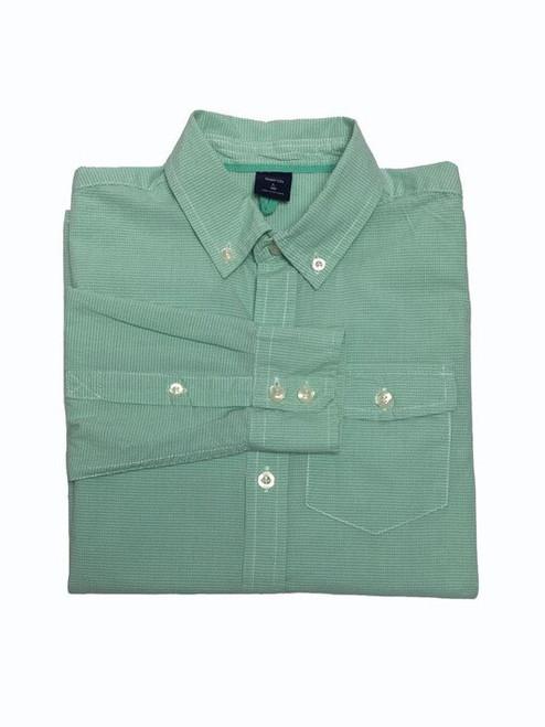 Green White Gingham Button-Down Shirt, Big Boys