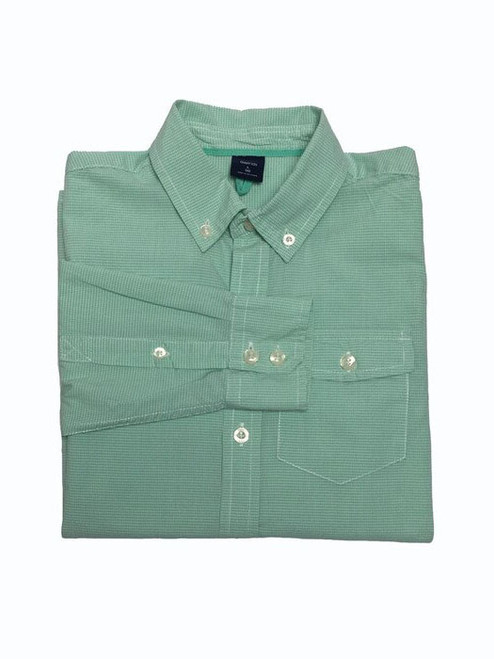 Green White Gingham Button-Down Shirt, Big Boys