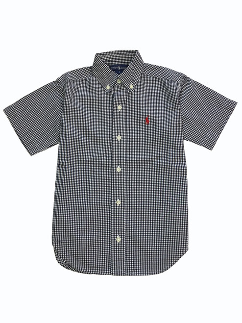 Navy Blue Gingham Shirt, Little Boys