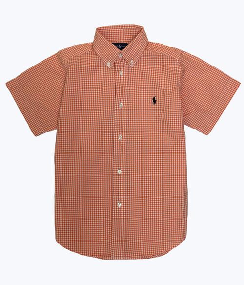 Orange Gingham Shirt, Little Boys