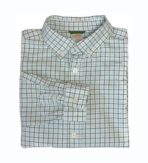 Green Check Button-Down Shirt, Little Boys