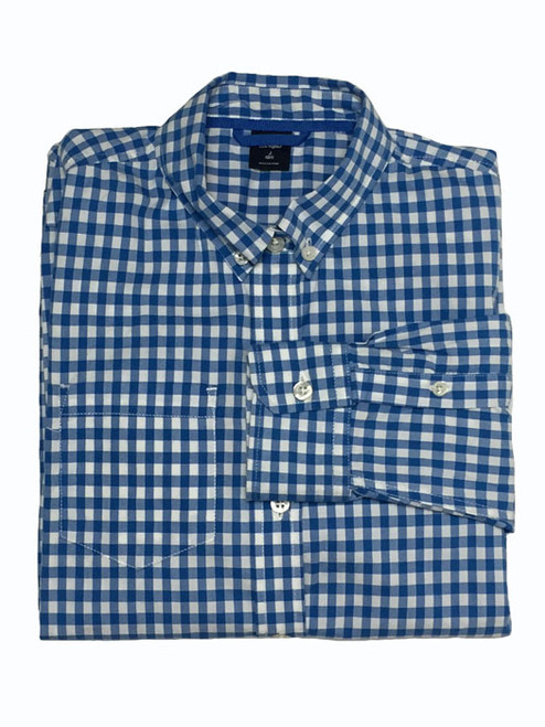 Blue and White Checkered Button Down Shirt, Big Boys