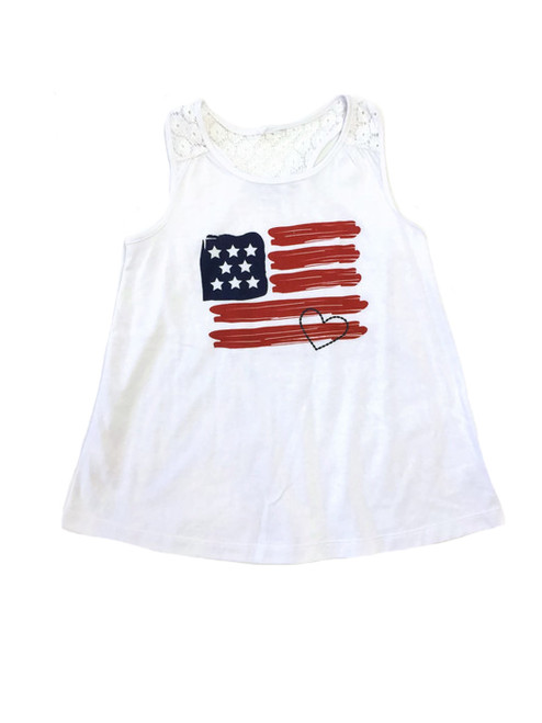 Red White & Blue Lace Tank Top, Little Girls