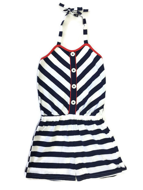 Girl Navy White Striped Halter Romper