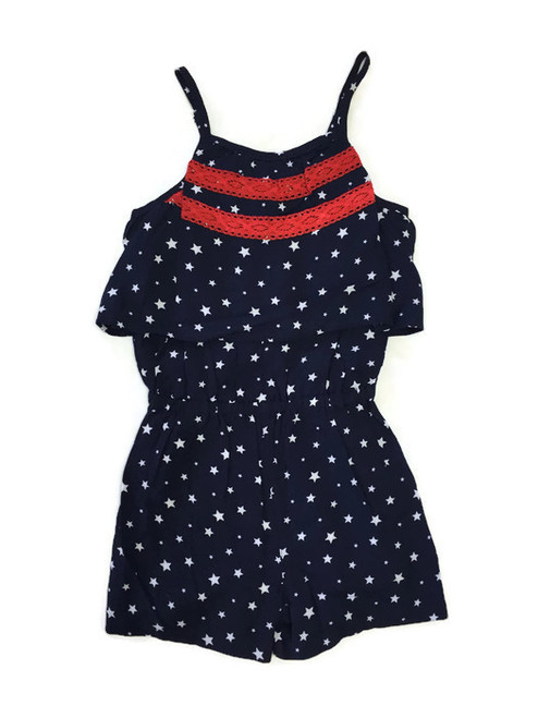 Girl Navy White Stars Romper