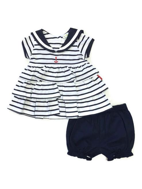 Baby Girl Navy Blue Stripes Nautical Ruffle Dress