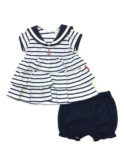 Navy Blue Striped Nautical Sailor Dress, Baby Girls