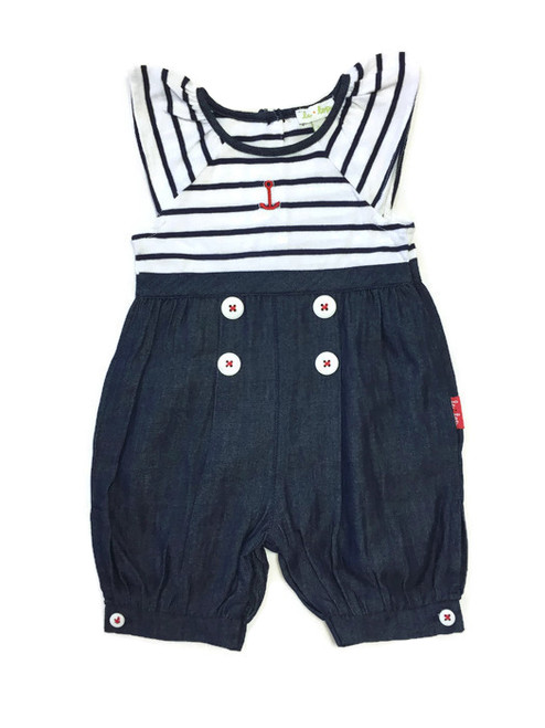 Blue Striped Nautical Sailor Romper, Baby Girl