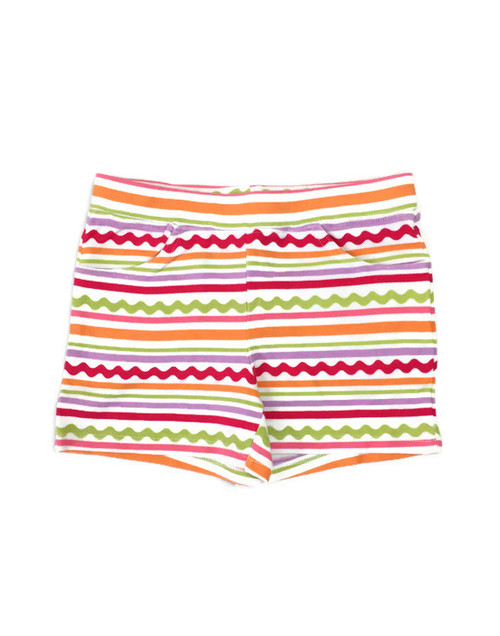 Multi-Color Striped Pull-On Shorts, Little Girls