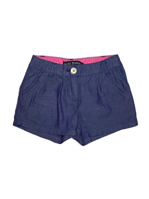 Purplish Blue Pleated Shorts, Little Girls