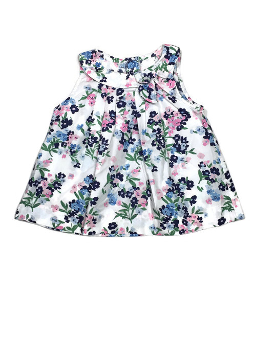 Floral Pleated Bow Top, Little Girls