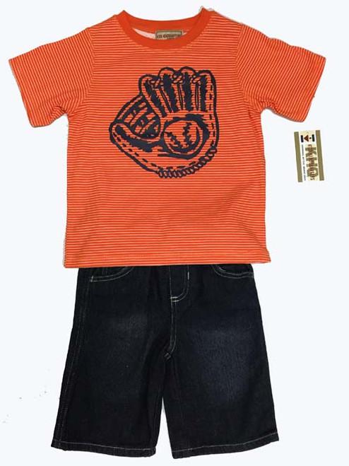 Baseball Graphic Tee and Denim Shorts Set