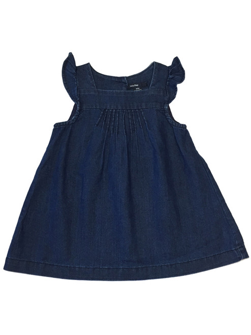 Dark Chambray Flutter-Sleeve Dress, Baby Girls