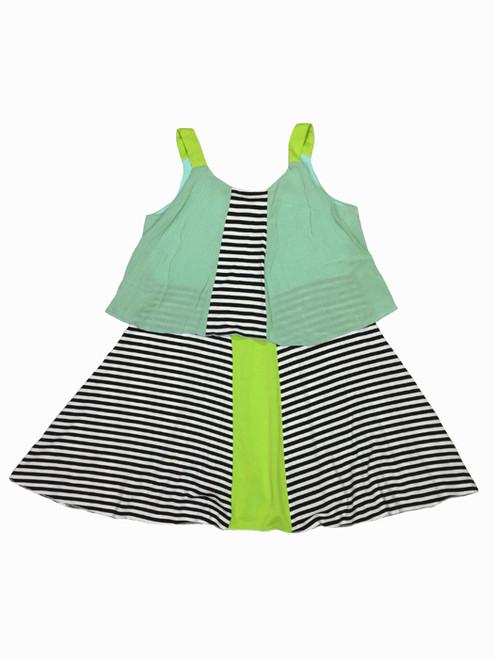 Mint Colorblock Print Tier Dress, Little Girls