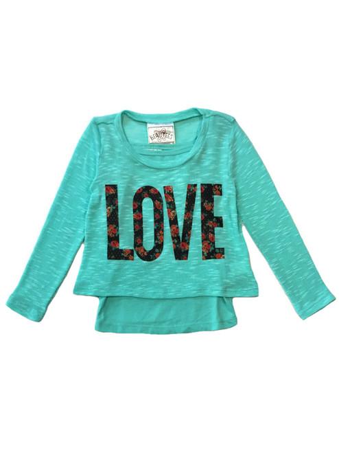 Aqua Love Lightweight Top with Tank, Toddler Girls