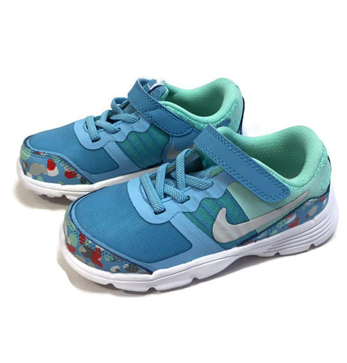 Aqua Sky Blue Confetti Sneakers, Little Girls