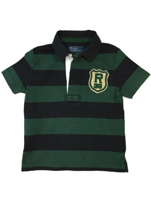 Hunter Green and Black Striped Polo Shirt, Baby Boys