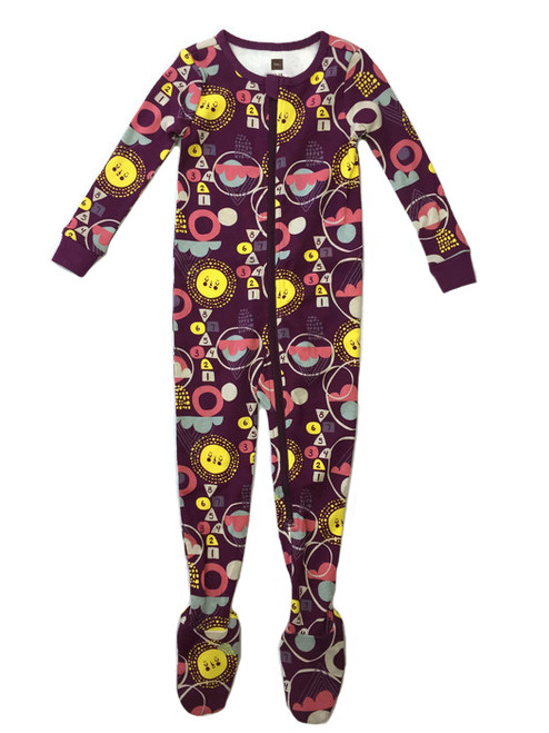 Purple Footed PJ Romper, Baby Girls