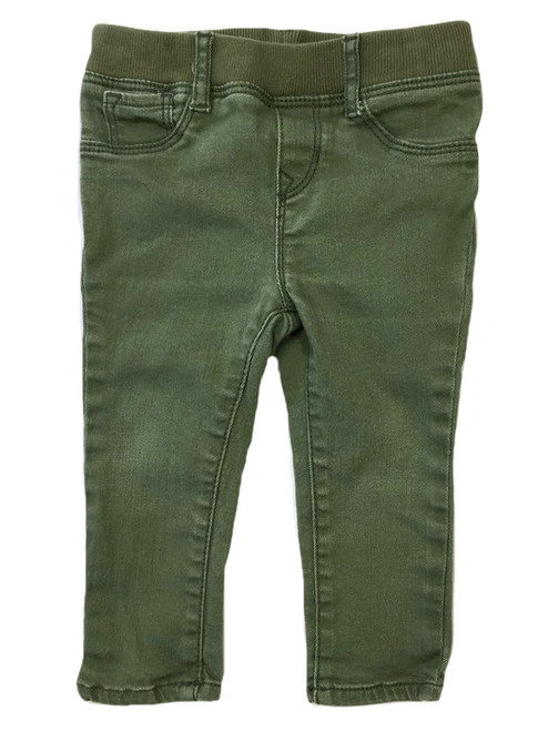 Olive Green Denim Pants, Baby Girls