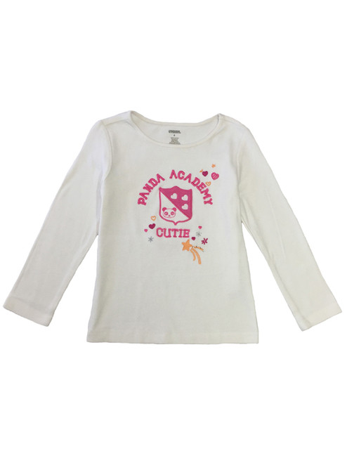 Ivory Embroidered Panda Academy Tee, Toddler Girls
