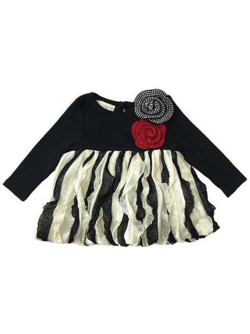 Black & Ivory Flower Bubble Tunic, Baby Girls
