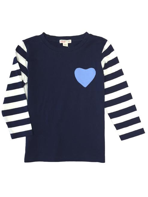 Navy Blue Heart Pocket Tee,  Toddler Girls