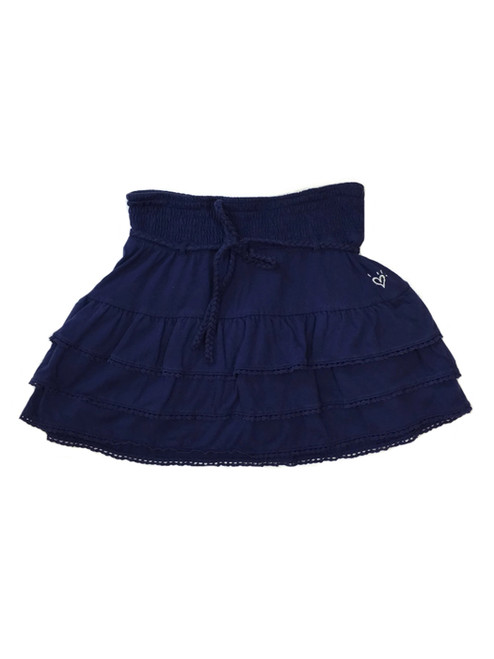 Navy Tiered Ruffle Skirt with Belt, Big Girls