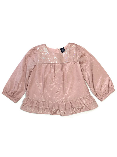 Dusty Pink Sequin Ruffle Satin Blouse, Baby Girls