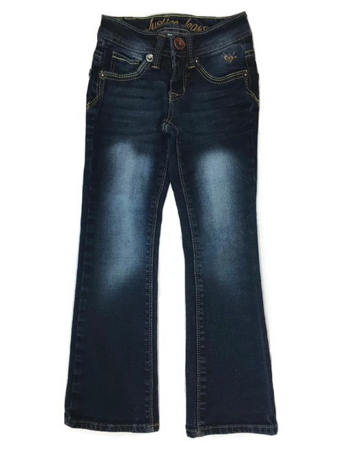 Dark Blue Low Faded Jeans, Little Girls