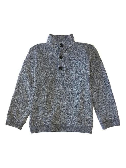 Navy Marl Fleece Pullover Sweater, Little Boys