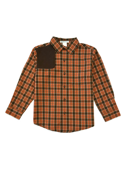 Orange Plaid Button Up Shirt, Little Boys